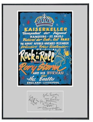 Cartel del Kaiserkeller anunciando a los Beatles.
